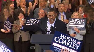 Barack speaking at Coakley rally