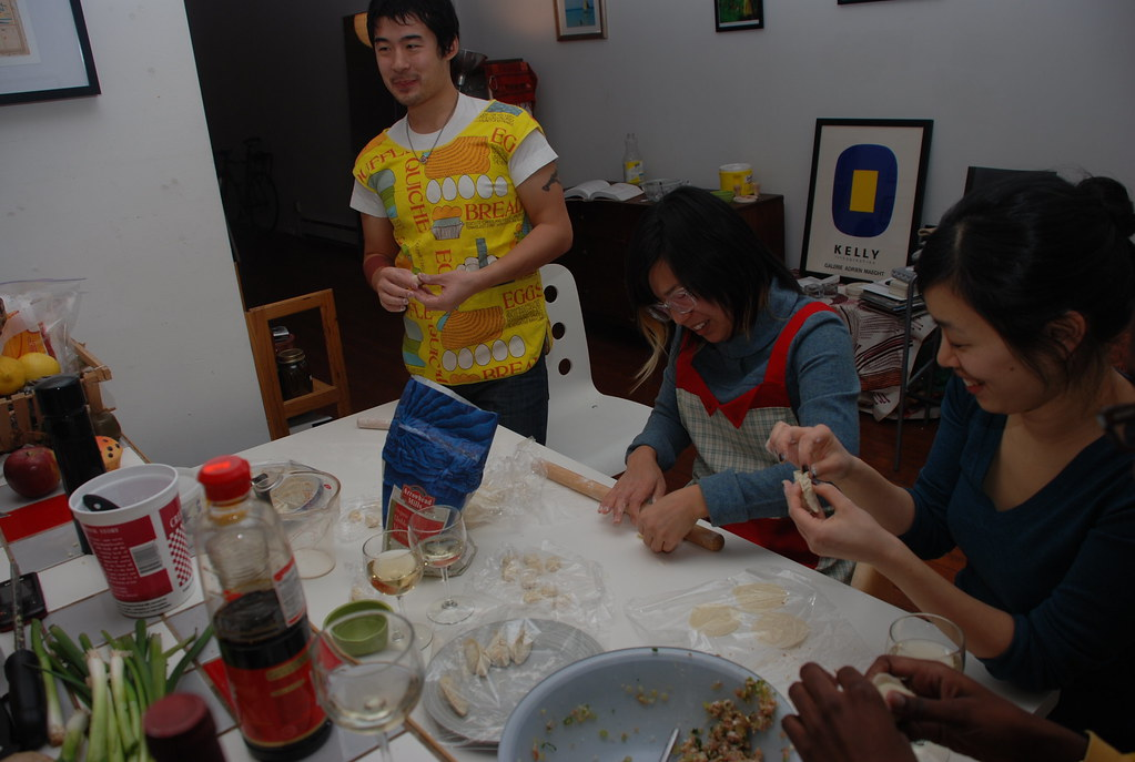 making dumplings in Winnie's kitchen