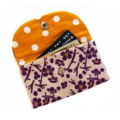 The Metro Wallet in Japanese sakura blossoms (Jennifer Ladd handmade) Tags: flower cute floral modern japanese coin aqua purple metro handmade wallet sewing small craft case fabric cotton purse zipper change gree creditcard jenniferladd