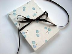 Floating Plum Blossoms Accordion Album (campbellrawpress) Tags: blue brown white floral paper book album accordion bookbinding plumblossoms chiyogami handbound campbellrawpress