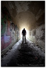 Lost (Terry Yarrow) Tags: man silhouette monster mystery portland lost graffiti scary alone threatening atmosphere tunnel dorset highanglebattery colorphotoaward superaplus aplusphoto