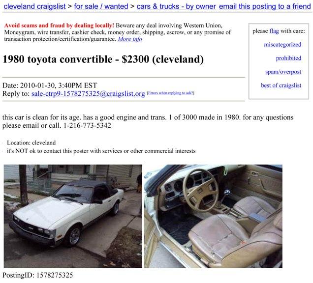 Coach Convertibles from 77-87 (Toyota,Datsun,Mazda,Honda) - Japanese
