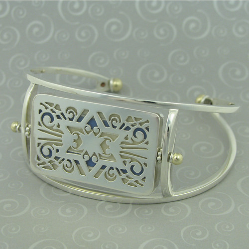 sterling silver & recycled 14k gold bracelet cuff 1