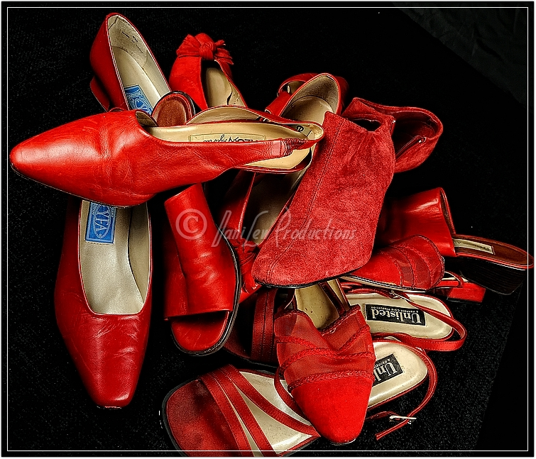 My Red Shoe Collection taken with a Nikon D300 camera, a Tamron 17-50 lens, and Nikon SB-900 and SB-600 flashes
