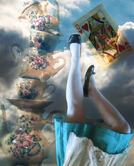Wonder (squeakysharpie) Tags: light selfportrait rabbit glass girl set photoshop hearts shoes looking dress hole legs tea alice lewis down disney queen falling card balance carroll through wonderland stacked selfie