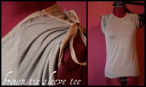 brown tie sleeve tee