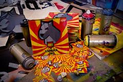 Ready for Madrid... (LukeDaDuke) Tags: madrid poster toy gold spain stencil sticker montana paint caps stickers espana cardboard cap crew posters sw aerosol vector spraycan spanje stencilled vst lukedaduke grafikwarfare stickerwar vstcrew