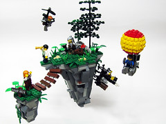 The Resistance is discovered! (_Matn) Tags: tree rock walking spider lego balloon floating steam helicopter greenery professor steampunk foitsop