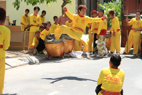 Leaping performer at Dragon Dance