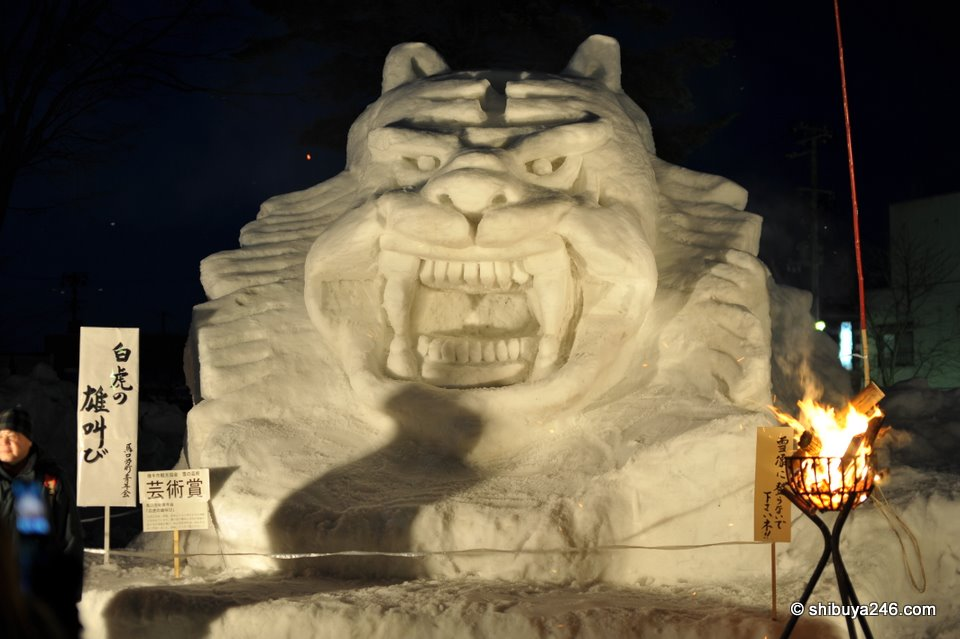 A menacing statute built in snow at the main kamakura event site. The fire in the front was a welcome site as my fingers had started to freeze over.
