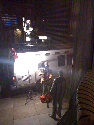 NBC film crew sets up for broadcast