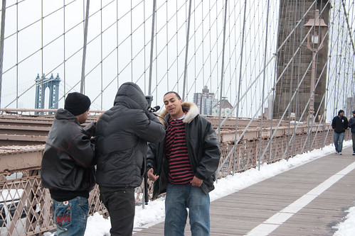 Rap video on the Brooklyn Bridge