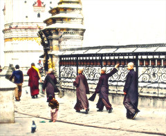 Monks walking along the prayer wheels of the Swayambhunath Stupa (Mieke Vos Photographics) Tags: nepal religion buddhism monks kathmandu prayerwheels artistimpression swayambhunathstupa img1701 artisticimpression monkswalkingaroundtheswayambhunathstupa