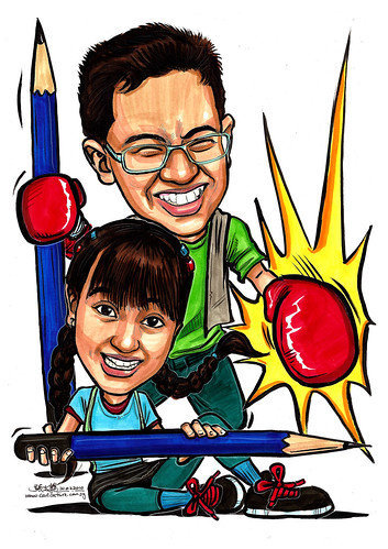 Caricatures of Nigel Chew & Jermaine Leong A4