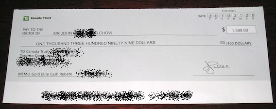 Visa Dividend Cheque