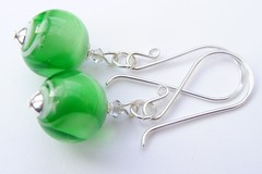 Green Glamour Swirls Earrings (Glittering Prize - Trudi) Tags: uk green glass beads crystal handmade jewellery swirl swarovski earrings jewelery trudi lampwork sra sterlingsilver glitteringprize fhfteam