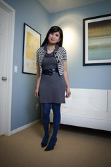 a little bit of houndstooth (bethantics) Tags: wardroberemix whatiworetoday houndstoothjacket bluetights greydress