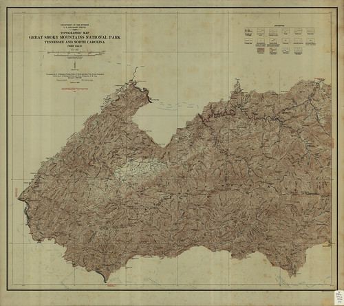 topographic maps of virginia. Topographic Map of Great Smoky