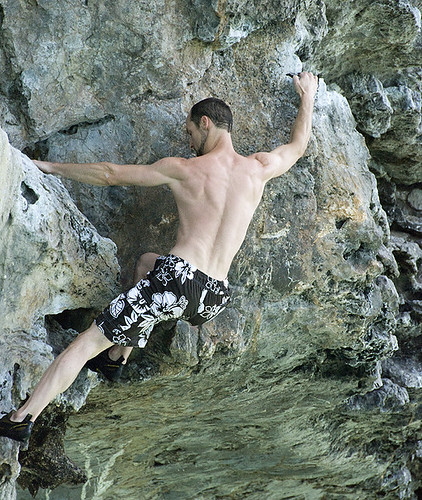Mark Climbs in Swim Trunks