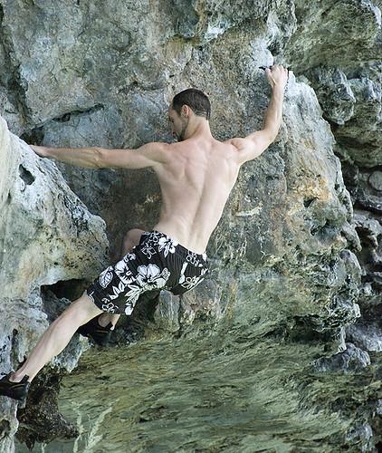 Mark Climbs in Swim Trunks