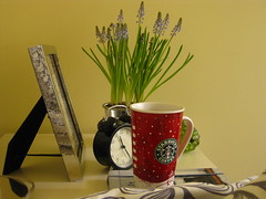 Tea for the day... (Hello Twiggs) Tags: flowers clock ikea home cup tea starbucks frame sick everydaylife hyacinths
