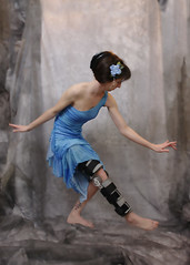 grey dance costume dress legs leg injury backdrop marbled brace poised