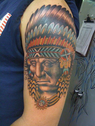 Indian Chief Tattoo by fernandotattoo
