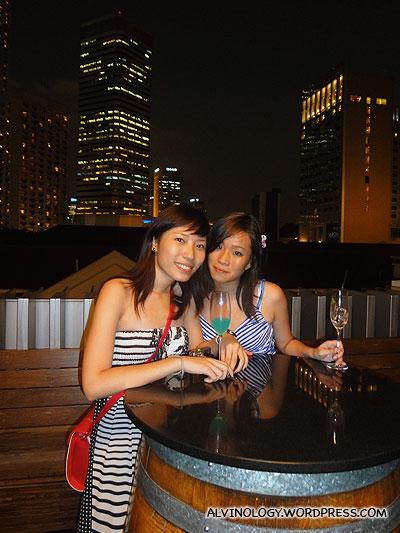Soaking in the atmosphere, enjoying their drinks