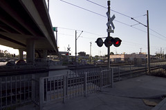 Pedestrian gates, bells, lights, at crossing near Imperial/Wilmington (fredcamino) Tags: blueline metro