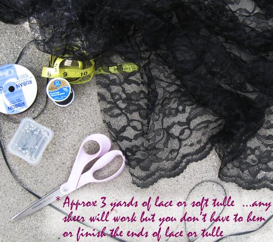long sheer lace skirt -diy-materials