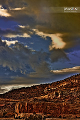 Red Rocks-Big Sky (Mason Photographics) Tags: blue red sky newmexico rock clouds view formation vista breathtaking