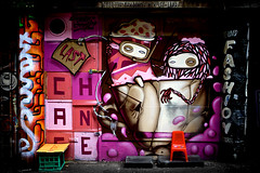 Last Chance (*quietachiever) Tags: pink streetart black contrast graffiti amazing alley purple melbourne victoria creepy perth streetartist canon5d spraypaint laneway colourful aerosol westernaustralia lastchance daek