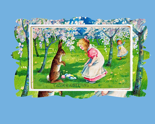 antique easter postcard with background
