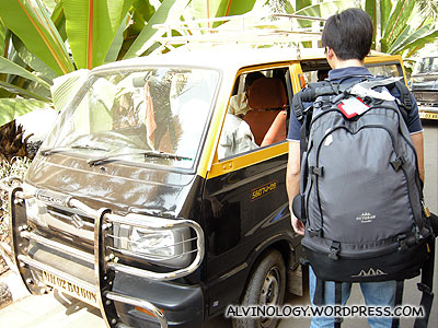The first taxi we took in India - a Suzuki Maruti with no air-con