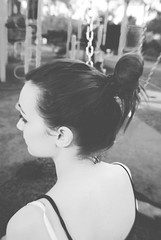 (Rebecca M.B.) Tags: friends white black colour love me girl beautiful face soft pretty play curves swings ground structure elegant bun classy