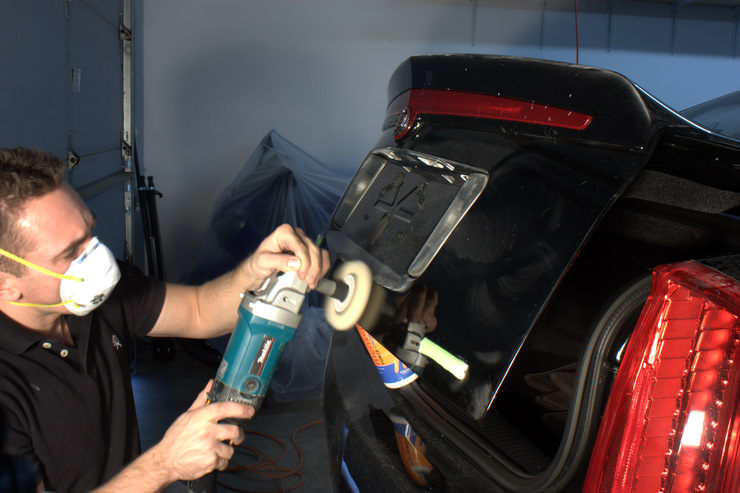 Buffing lower trunk lid of 2008 Cadillac STS-V