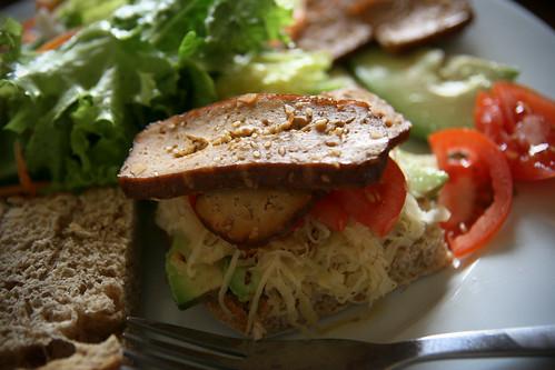 Smoked tofu and sauerkraut sandwich