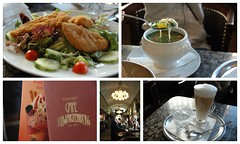 Mittagessen in Wien. (McPig) Tags: vienna food chicken coffee lunch soup milk salad cafe beef clear latte