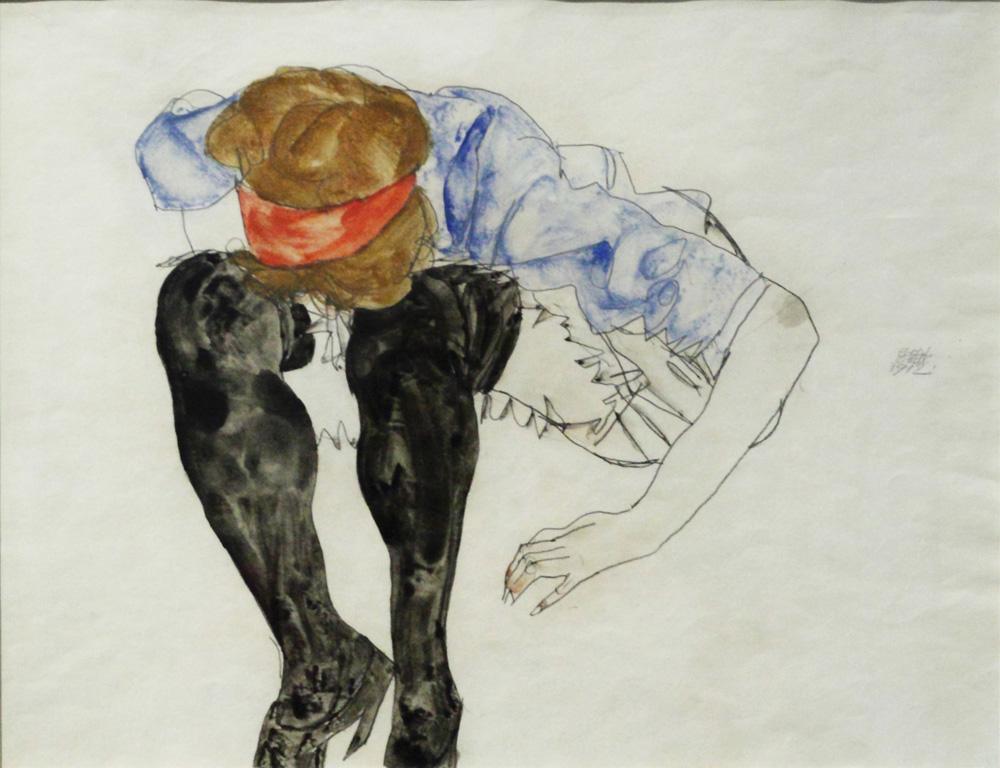 Egon Schiele, Blonde, vorgebeugt mit schwarzen Strümpfen [Blonde Girl, Leaning forward with Black Stockings], 1912