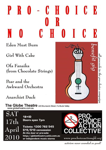 Pro Choice Action Collective Benefit Gig Poster, April 17 2010