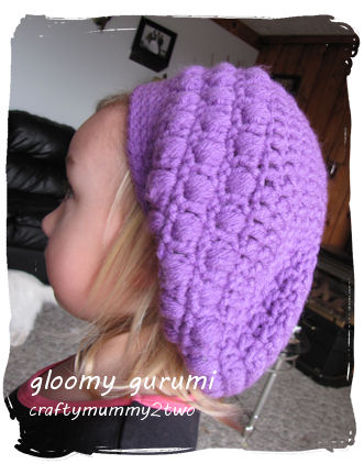 puffy slouchy hat purple