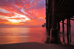 Malibu Pier Sunrise, Ca - Stawberry Stardust