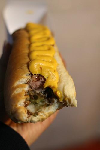 Chocolate, nacho cheese, kiwi sauce, relish and onion HOT DOG!