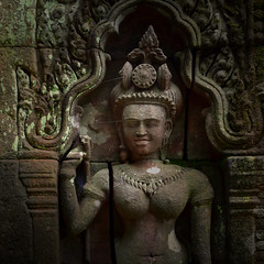 Early Khmer Apsaras image in Sanctuary (Bn) Tags: topf50 sacredplace topf100 apsaras watphou templemountain naturalspring southernlaos khmertemple champasak watphu 100faves 50faves mainshrine vatphou watphuchampasak alongthemekongriver buddhalaos siteofvatphou exceptionalarcheologicalsite vatphoustartedaround1000ad nothernpalace ancientkhmerstemple henripamentier rediscoveredvatphouin1914 earlyangkorwatstyle unescoworldheritagesiteofvatphou phoukaomountain influencescomefromkhmerhinduandbuddhisttraditions protectedstatusin2001 reconstructionandrenovations earlykhmerbuddhaimageinsanctuary buddhaimageinsanctuary acelestialdancer oneofthebeautifulmaidens