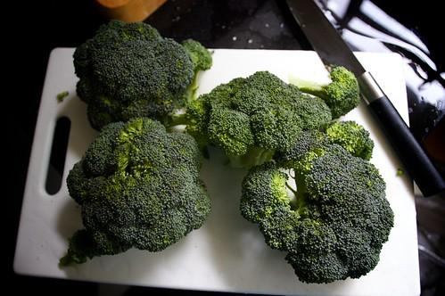 chopping broccoli!