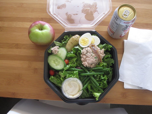 Niçoise salad from Cartet ($9.88), Diet Coke ($1.25), apple (free)