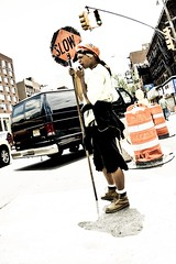 NYC (shaymurphy) Tags: street new york city nyc sign america construction amrica stop worker amerika stad      lamerica lamrique