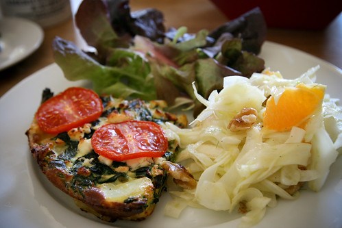 Wild garlic fritatta with fennel and orange salad