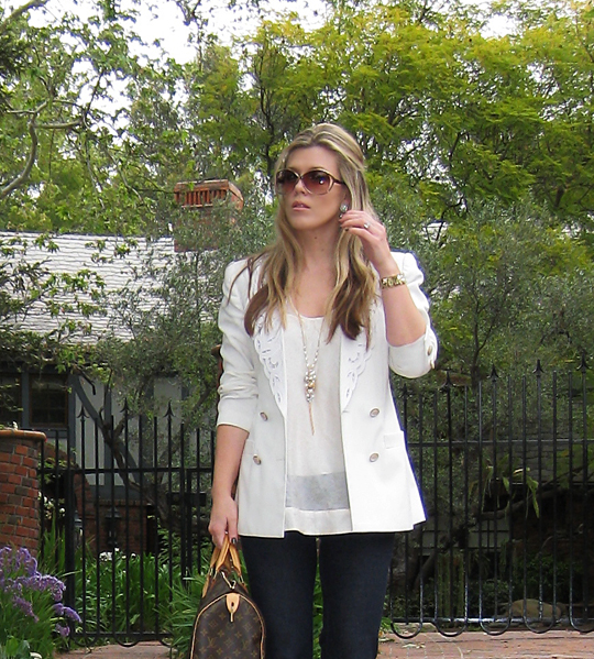 j brand jeans+lovestory+white blazer+louis vuitton bag -2