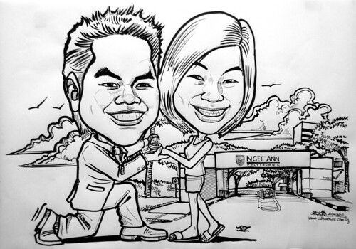 Couple caricatures proposing at Ngee Ann Polytechnics